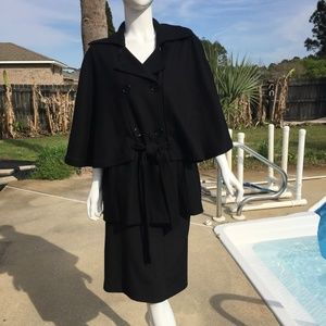 East 5th Black Coat with Cape Tie Front Beautiful